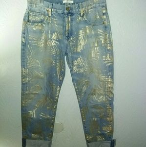 New 7 for all Mankind Jeans 28 Crop Gold Foil